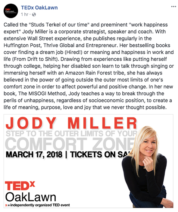 TEDxOakLawn – Excited to Be a Speaker at This Amazing Event