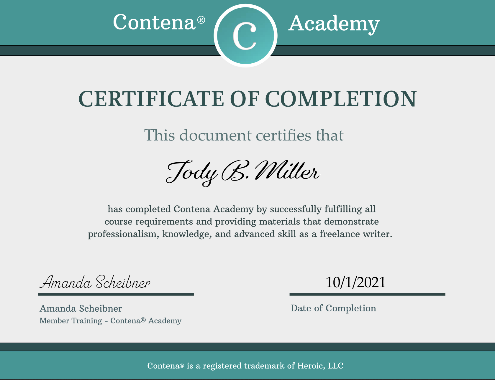 Contena Professional Freelance Writer Academy Completion